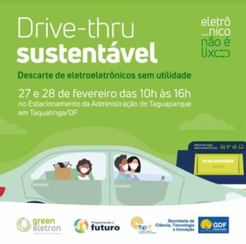 Drive-thru para descarte de eletroeletrônicos no Taguaparque em 27 e 28/2