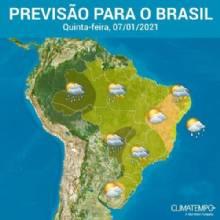 Nebulosidade sobre o Brasil